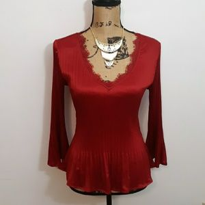 Sunny Leigh Red Pleated V-Neck Blouse Top